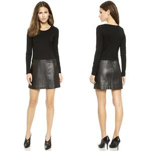 Theory Bowmont Lambskin Leather Dress